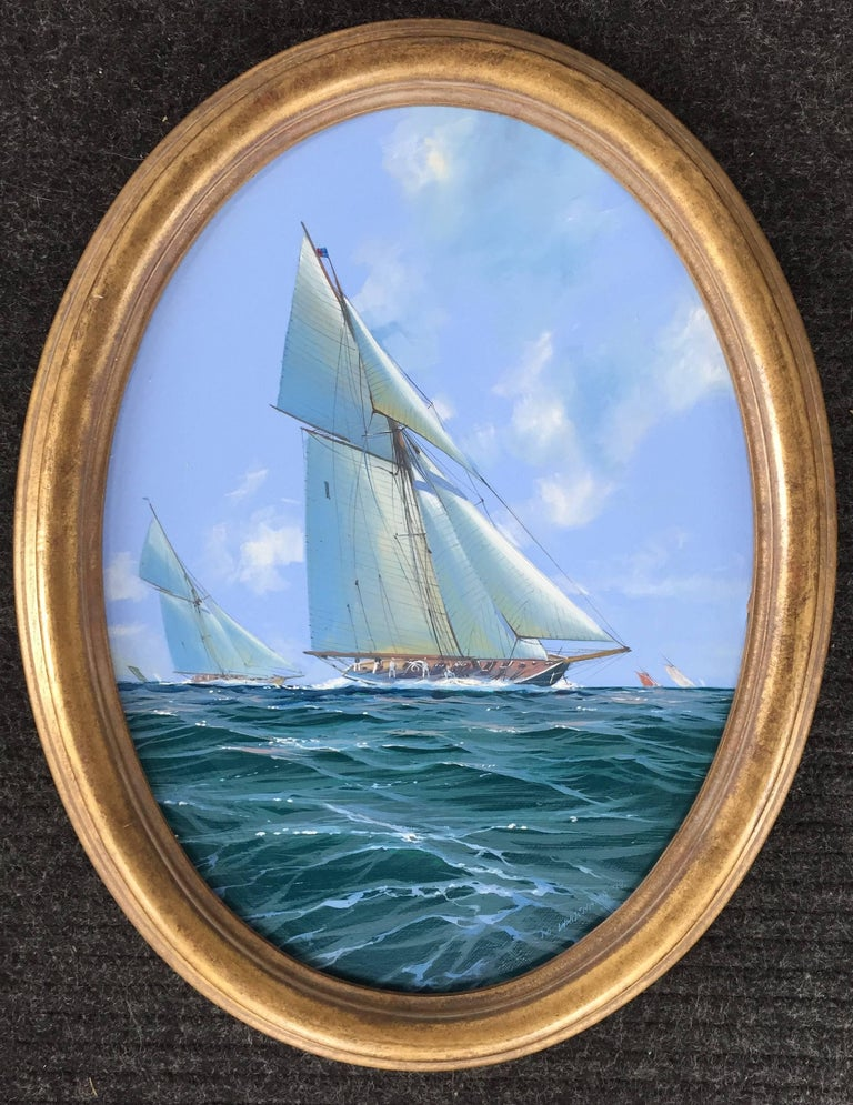 H.M. Yacht Britannia racing pair of oval paintings. Each signed and dated 94 and inscribed on back, oil on board.   Michael J. Whitehand b. 1941, British Born in the East coastal town of Bridlington in Yorkshire, England, and largely