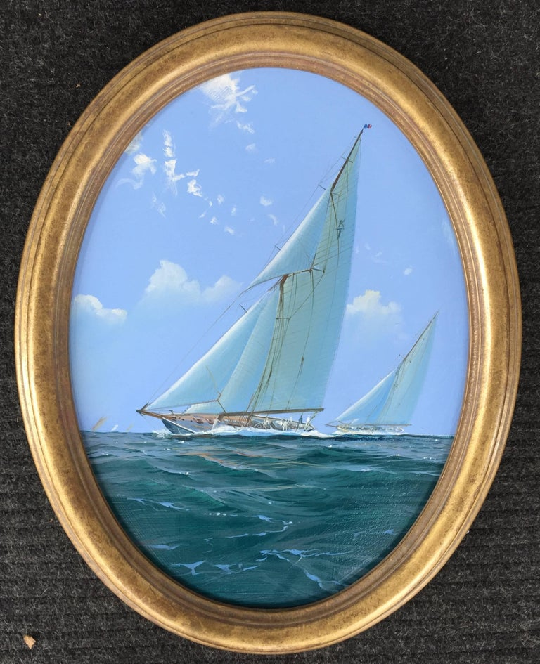 Pair of Yacht Racing Paintings by Michael Whitehand In Excellent Condition In Wiscasset, ME