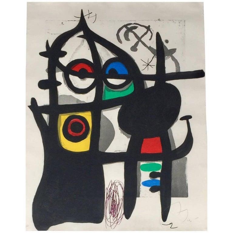 """""""La Captive"""" HC Color Etching Aquatint by Joan Miró For Sale"""