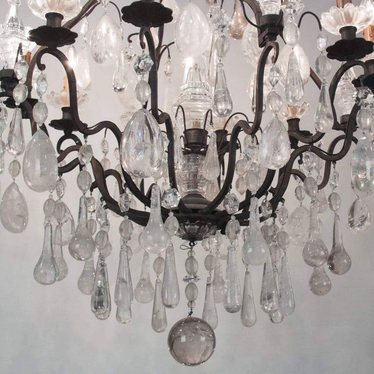 Beautiful 19th century bronze chandelier with rock crystal.