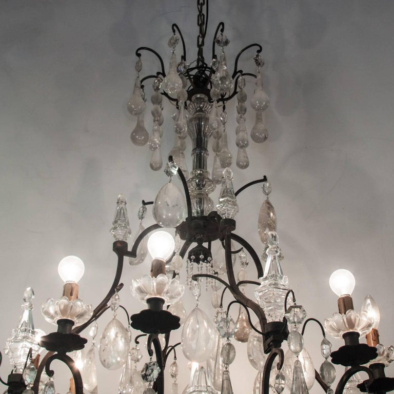 19th Century Bronze Chandelier with Rock Crystal In Good Condition For Sale In Esbeek, NL