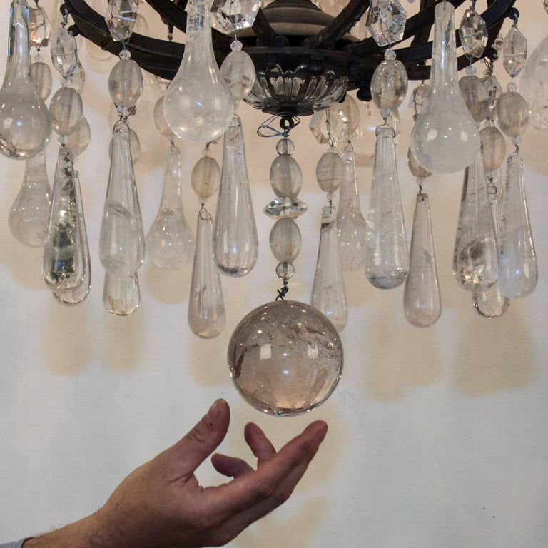 19th Century Bronze Chandelier with Rock Crystal 4
