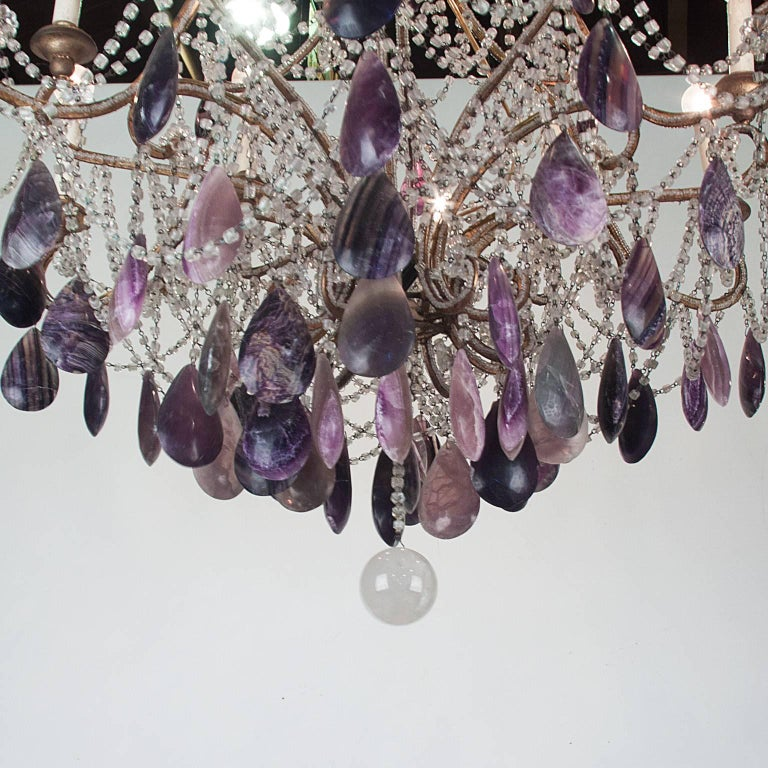 19th century Bronze chandelier with blue john gemstones and glass.