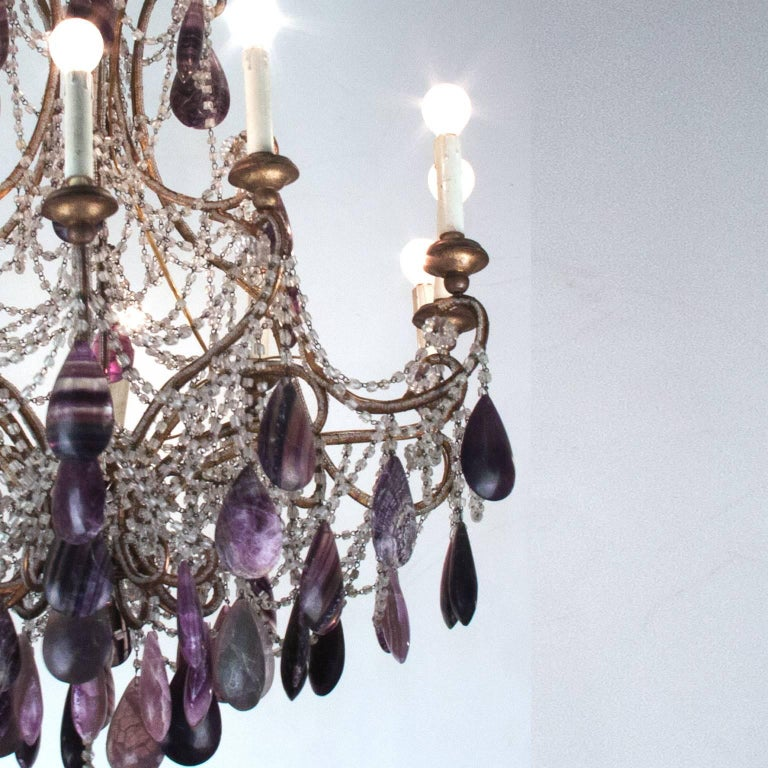 19th Century Bronze Chandelier with Blue John Stones and Glass In Good Condition For Sale In Esbeek, NL