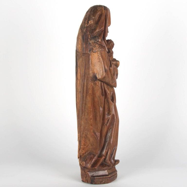 Dutch Walnut Wooden Anna Selbdritt Group, circa 1480, Brabant, Malines For Sale