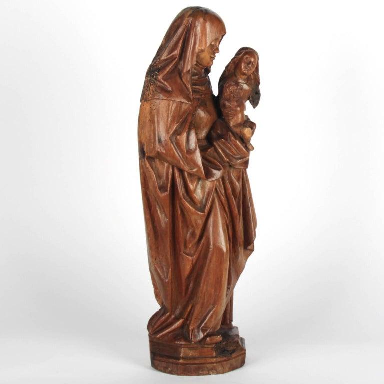 Carved Walnut Wooden Anna Selbdritt Group, circa 1480, Brabant, Malines For Sale