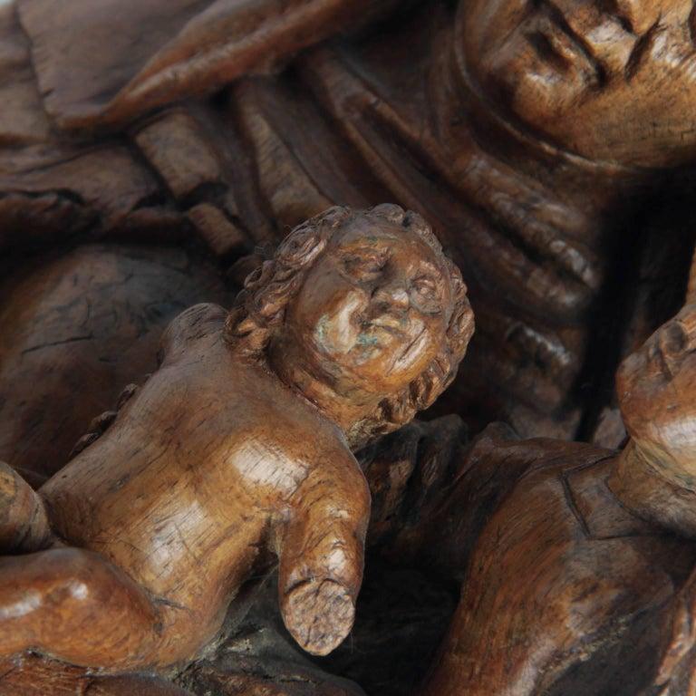 Walnut Wooden Anna Selbdritt Group, circa 1480, Brabant, Malines For Sale 1