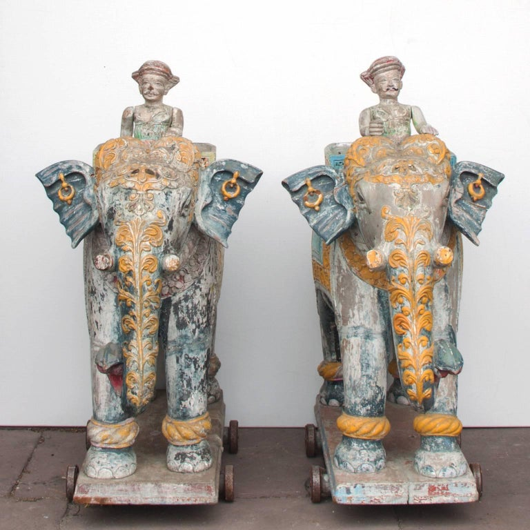 Set of Two Wooden Painted 19th Century Elephants, India 2
