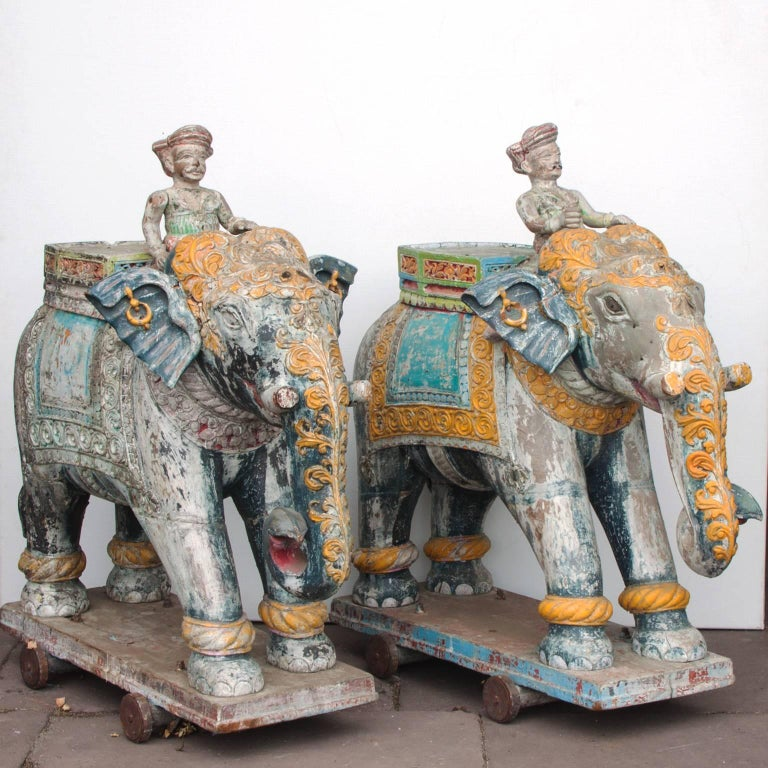 Set of Two Wooden Painted 19th Century Elephants, India 3