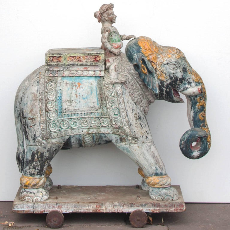 Set of Two Wooden Painted 19th Century Elephants, India 4