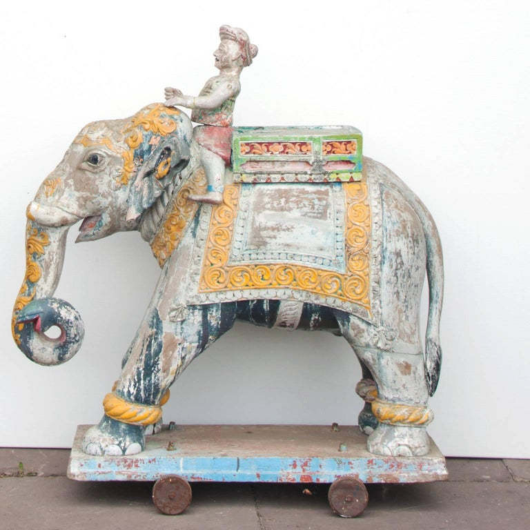 Set of Two Wooden Painted 19th Century Elephants, India 6