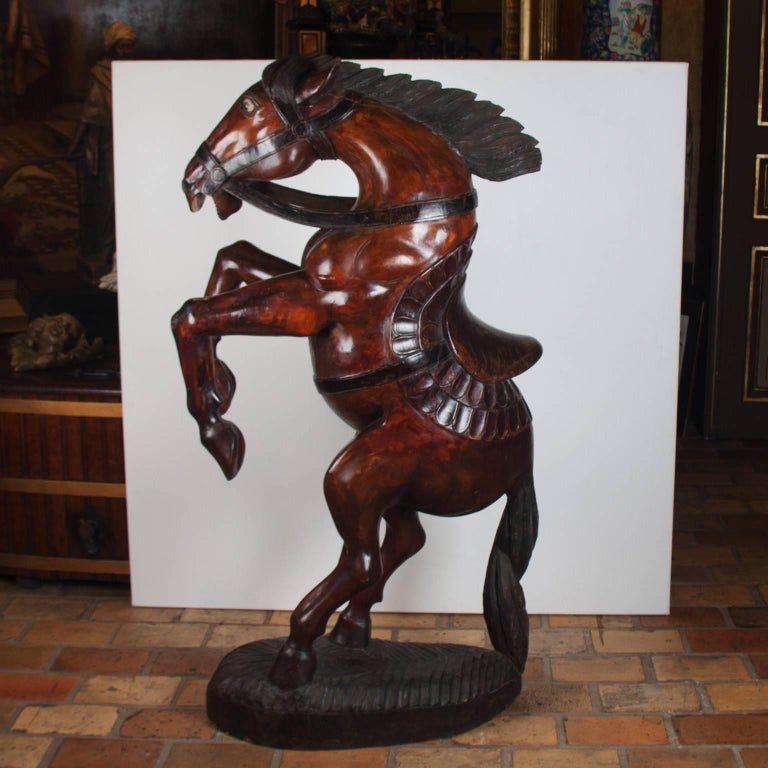 English Pair of Wooden Polychromed Horses, circa 1780-1820, Probably England For Sale