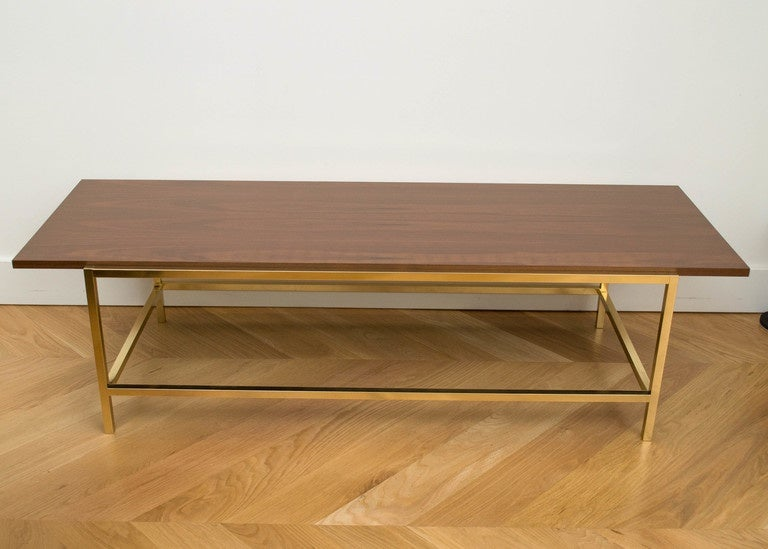 Brass and Walnut Cocktail Table 3