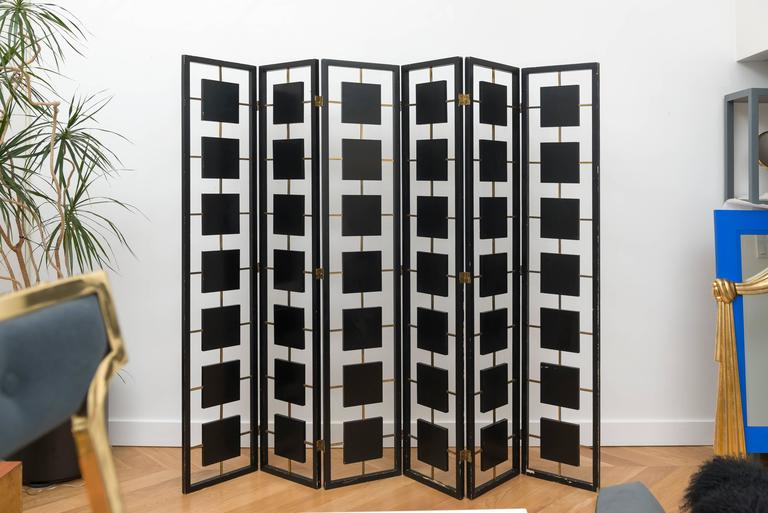 Brass and Black Lacquer Six-Panel Screen 2