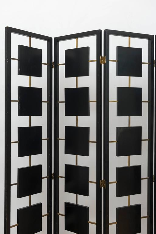 Brass and Black Lacquer Six-Panel Screen 3
