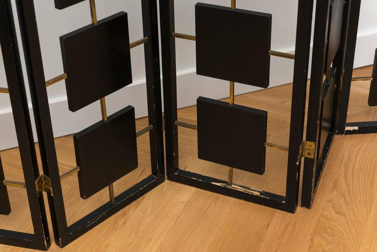 Brass and Black Lacquer Six-Panel Screen 4