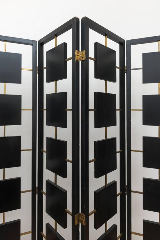 Brass and Black Lacquer Six-Panel Screen 5