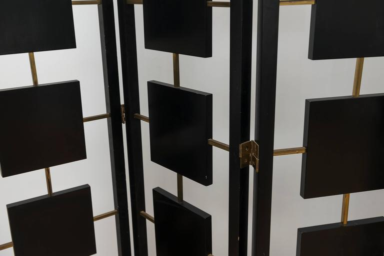 Brass and Black Lacquer Six-Panel Screen 7