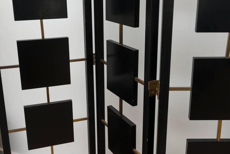 Brass and Black Lacquer Six-Panel Screen 8