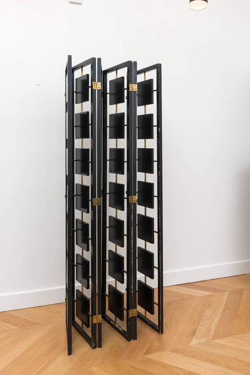 Brass and Black Lacquer Six-Panel Screen 9