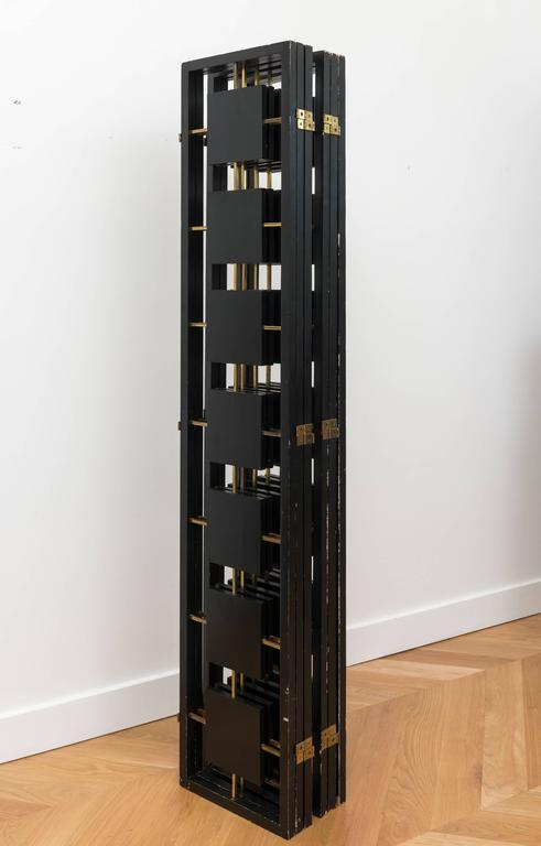 Brass and Black Lacquer Six-Panel Screen 10