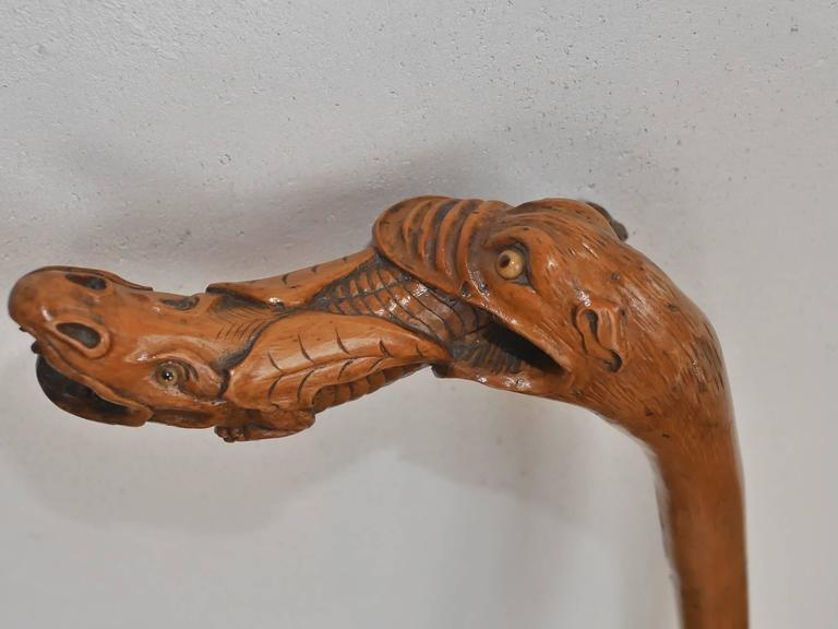 Boxwood 19th Century French Folk Art Cane For Sale