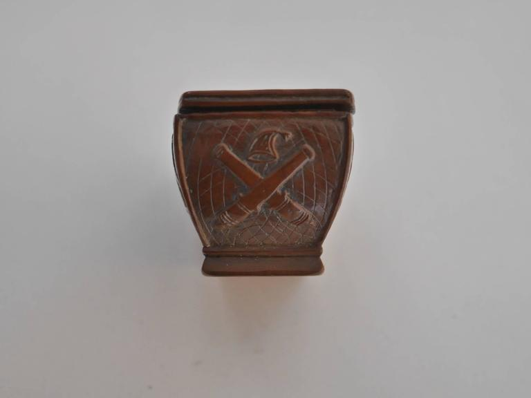 Carved 19th Century Napoleon's Coffin Snuffbox For Sale