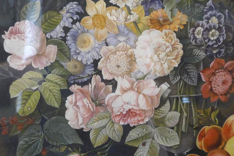 Bouquet de fleurs et fruits et perruches  watercolors  Attributed to Elise Wagner,  circa 1850.