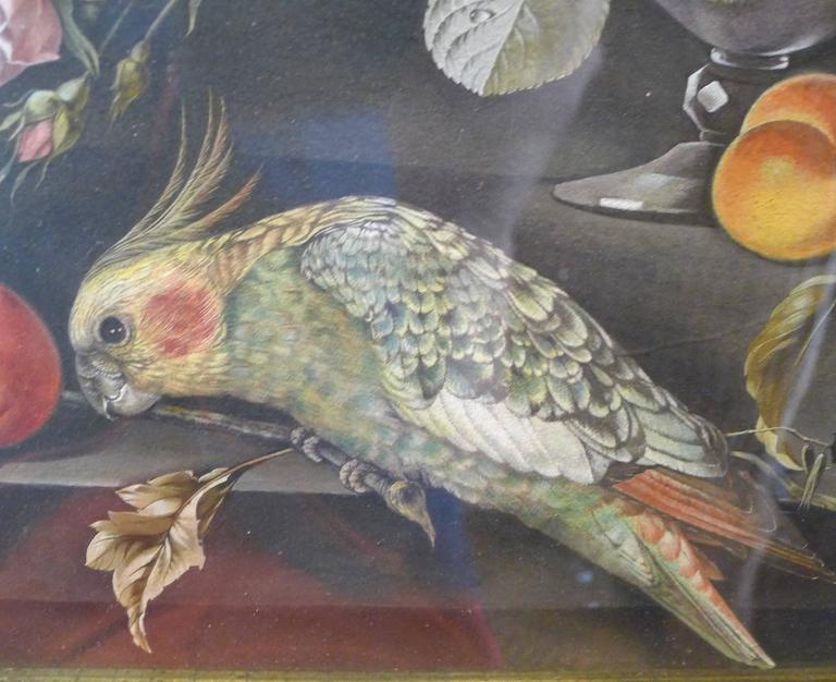 Mid-19th Century Watercolors Flowers, Fruits and Parakeets For Sale