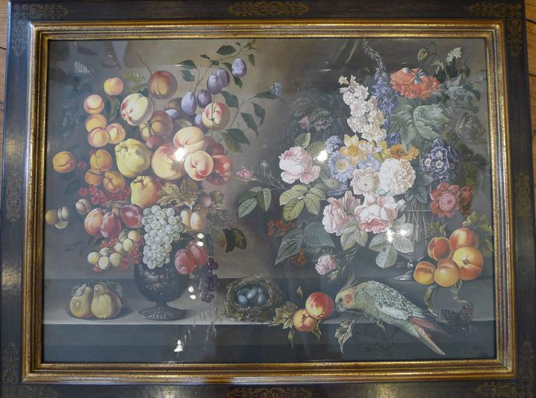 Watercolors Flowers, Fruits and Parakeets For Sale 2