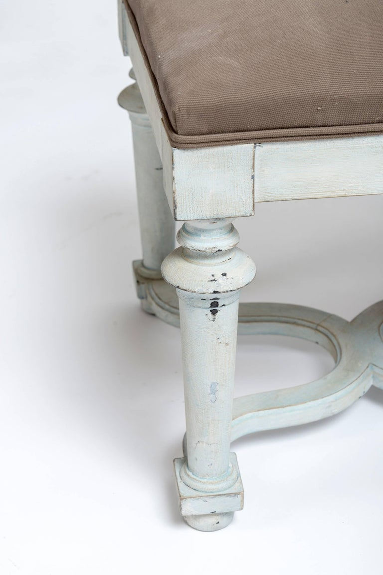 Pair Of Light Blue Green Painted Benches With Grey