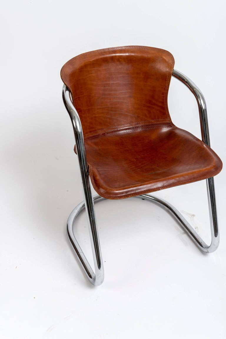 Set Of Willy Rizzo Dining Chairs With Cognac Leather For