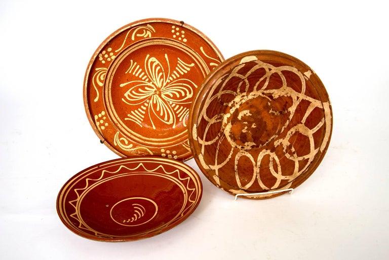 Three large and medium sized French crockery platters. Handmade and vintage, circa 1880.