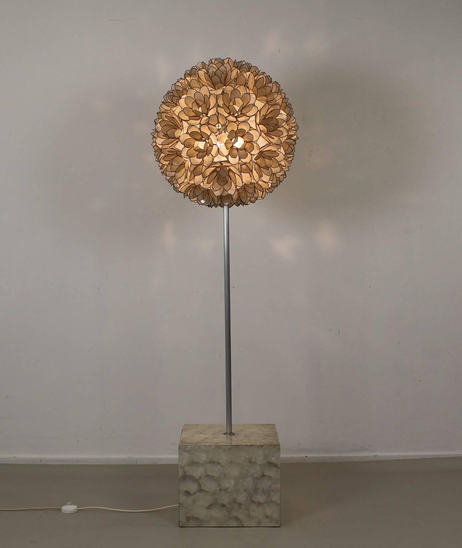 all original mother of pearl flower ball floor lamp at 1stdibs. Black Bedroom Furniture Sets. Home Design Ideas