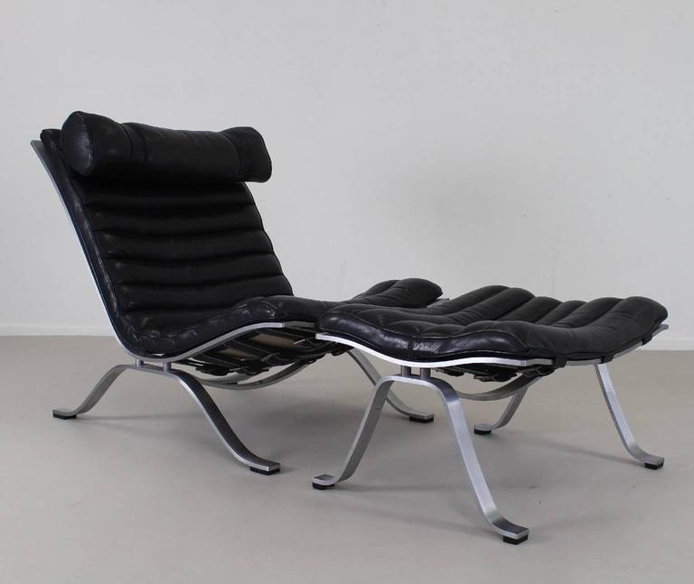 Exclusive Black Leather Lounge Set By Arne Norell For Sale