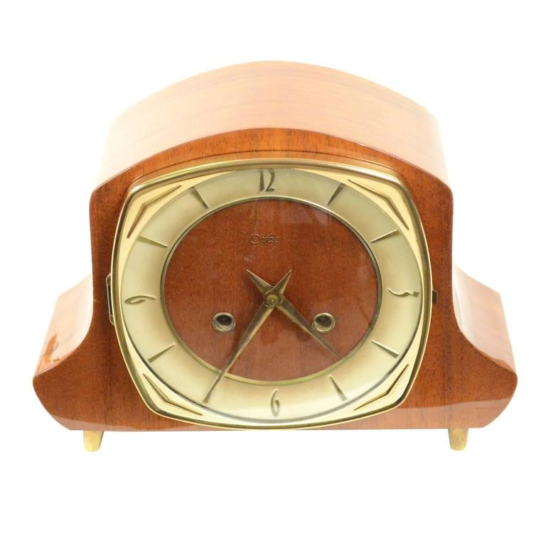Wooden And Brass Table Clock Signed Orfac At 1stdibs