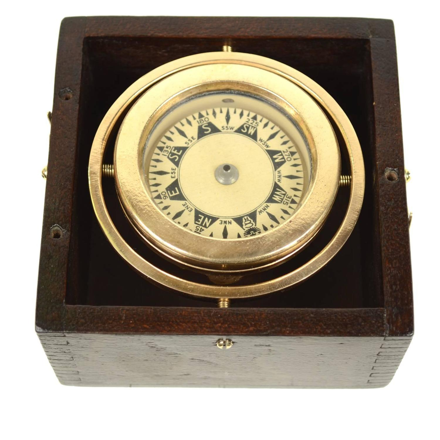 Nautical Brass Compass Made At The End Of The 19th Century