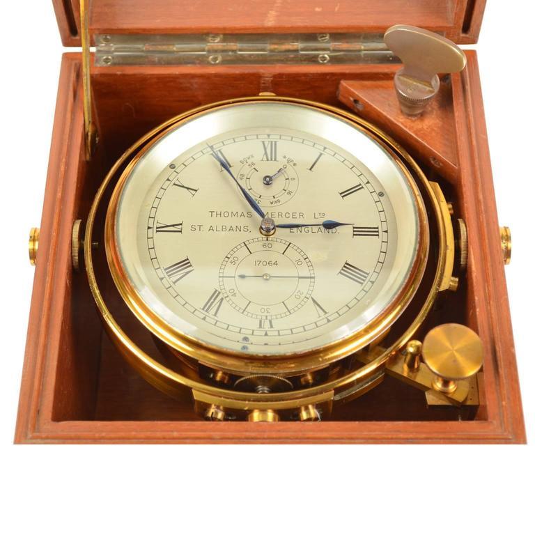 Mid-20th Century Marine Chronometer Signed Thomas Mercer Ltd. For Sale
