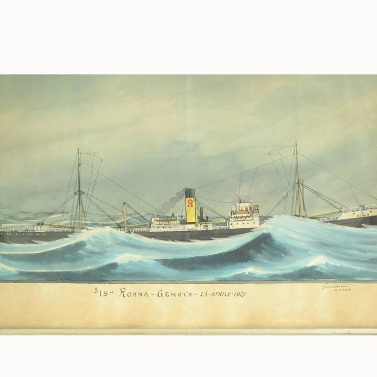 Nautical votive painting, tempera on cardboard, made by the marine painter Giovanni Luzzo, depicting the steamship Roana in trouble among the waves. Under the painting it is written S / S Roana Genoa April 23 1927. Coeval frame in good condition.
