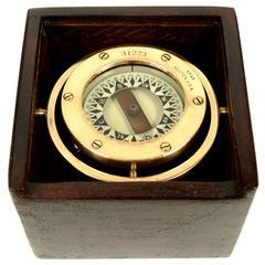 Brass nautical compass signed STAR Boston USA