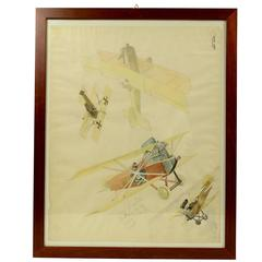 Watercolor Depicting Four Biplanes