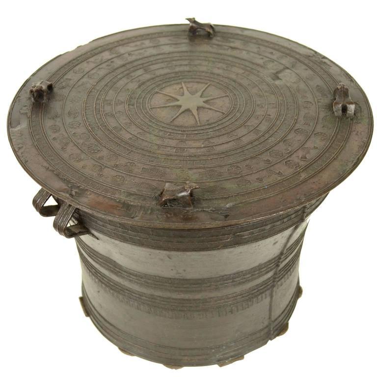 Thai Rain Drum Made of Bronze End of the 19th Century