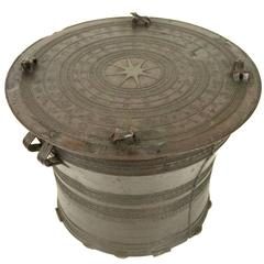 Thai Rain Drum Made of Bronze End of the 19th Century