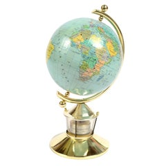 Small German Globe with Thermometer Made in 1950s