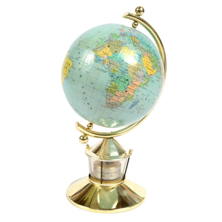 Small German Globe with Thermometer Made in 1950s For Sale