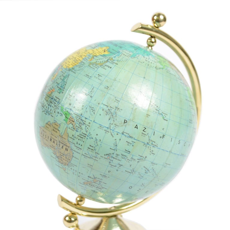 Mid-20th Century Small German Globe with Thermometer Made in 1950s For Sale