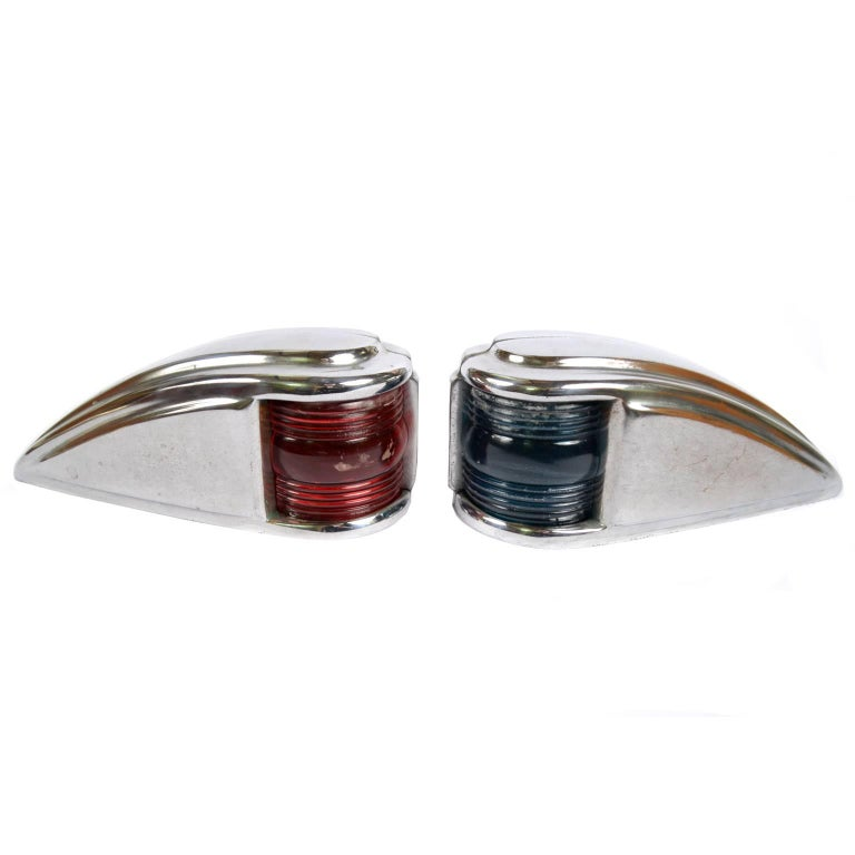 Pair of Red and Green Lights Made of Chromed Brass in the 1950s