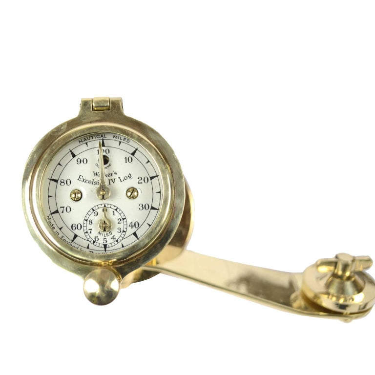 British Brass Log Signed Walker's Excelsior IV Patent Log, 1920 circa For Sale