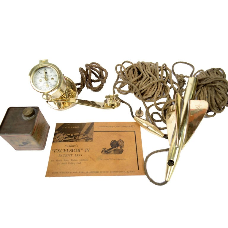 Early 20th Century Brass Log Signed Walker's Excelsior IV Patent Log, 1920 circa For Sale