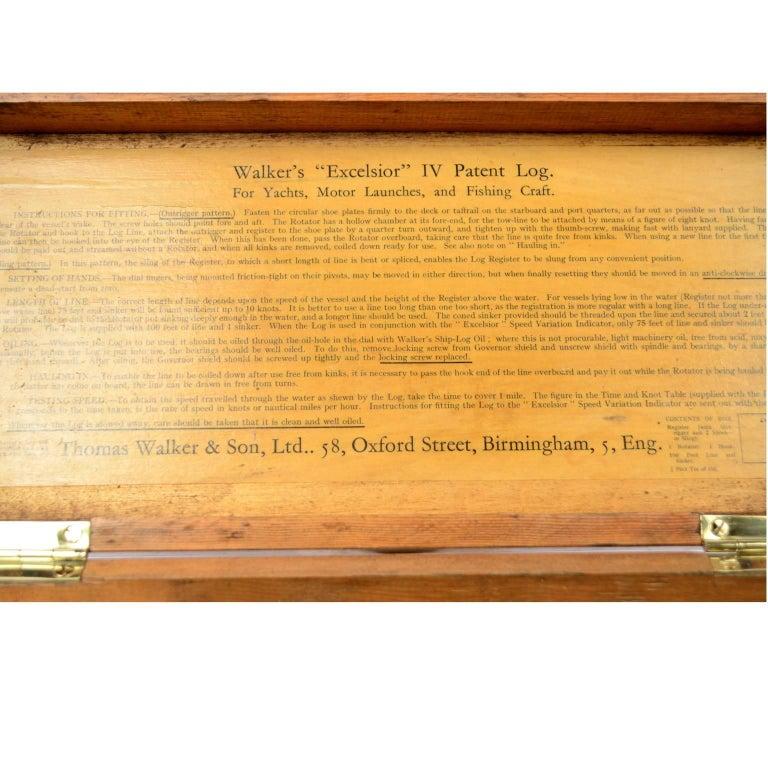 Brass Log Signed Walker's Excelsior IV Patent Log, 1920 circa For Sale 4